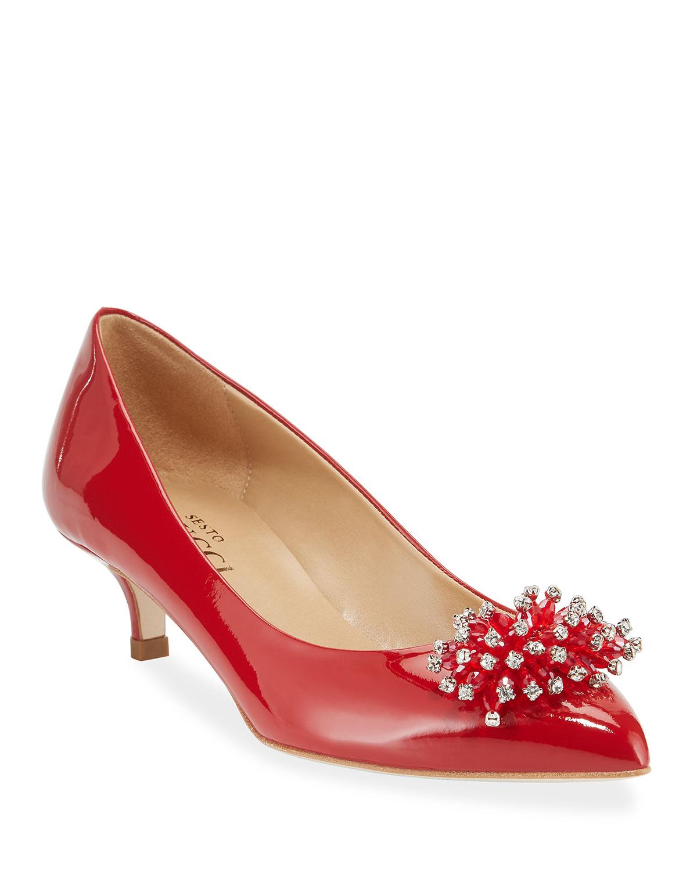 3f638ce112360 Sesto Meucci Bel Kitten-Heel Ornament Pumps