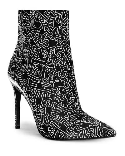Keith Haring x Alice + Olivia Dancing Man Leather Booties
