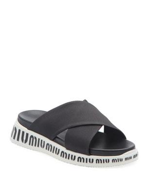 41c0a5eb777d Miu Miu Nylon Logo Slide Sandals