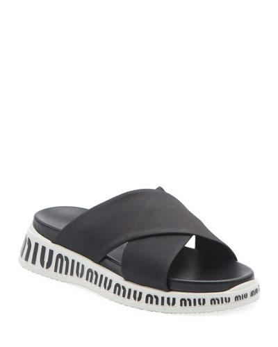 Nylon Logo Slide Sandals