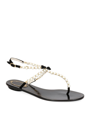 fc34c1a0ad9 Rene Caovilla Pearly Beaded Flat Thong Sandals