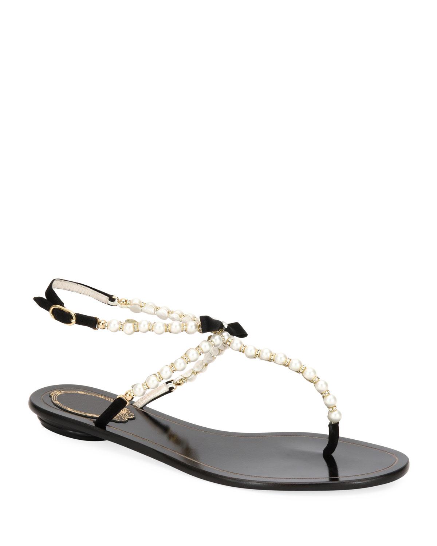 e02388f6e22 Rene Caovilla Pearly Beaded Flat Thong Sandals