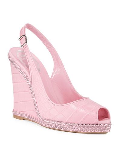 Crystal-Trimmed Alligator Wedge Sandals