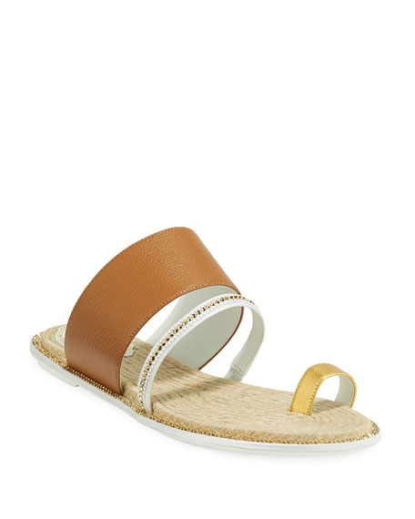 Rene Caovilla Flat Leather/Jute Toe-Ring Slide Sandals