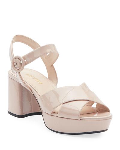 Patent Leather Platform Ankle-Wrap 65mm Sandals