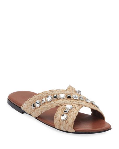 Prada Jeweled Raffia Flat Slide Sandals