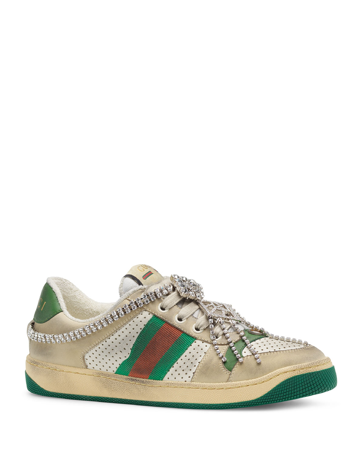 c6c1629d4 Gucci Screener Dirty Sneakers with Crystals | Neiman Marcus