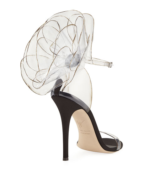Vinyl Flower Ankle-Strap Sandals