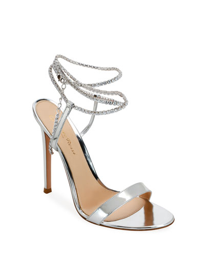 Metallic Crystal Ankle-Wrap Sandals