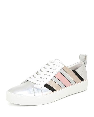 Tess Striped Metallic Leather Sneakers