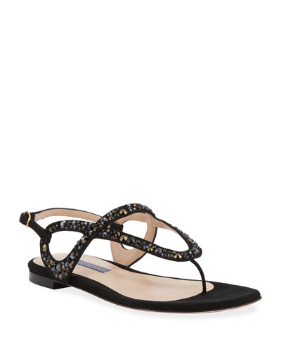 Allura Crystal-Embellished Flat Sandals