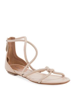 9518f6b184f7b5 ALAIA Twisted Studded Flat Leather Sandals