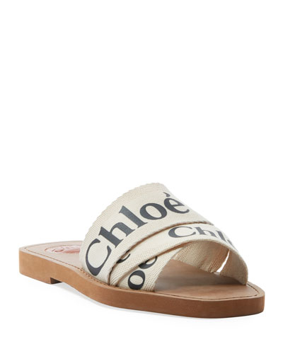 Woody Flat Logo Ribbon Slide Sandals