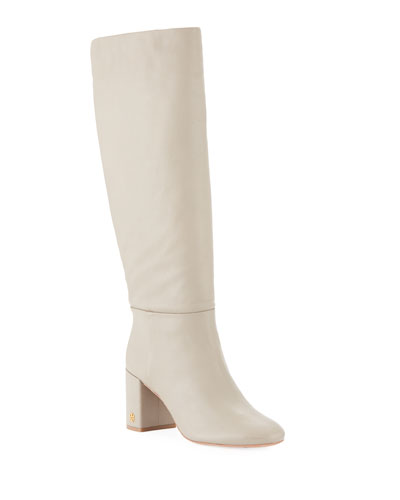 39a3c050d Tory Burch Brooke Slouchy Leather Block-Heel Knee Boots