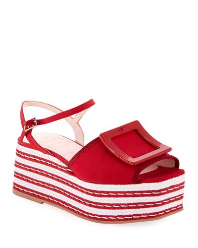 Buckle Platform Espadrille Sandals