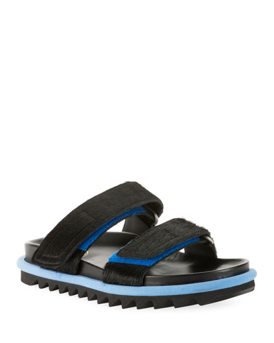 Calf Hair Double-Strap Slide Sandals