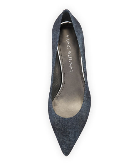 Stuart Weitzman Poco Denim Kitten-Heel Pumps
