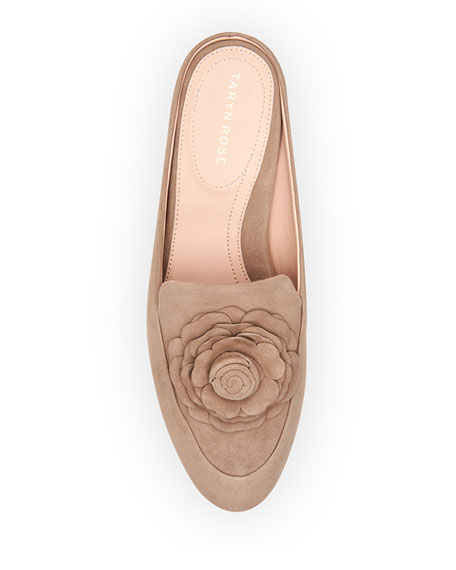 5b06b764459 Taryn Rose Blythe Floral Suede Mule Loafer In Taupe Suede