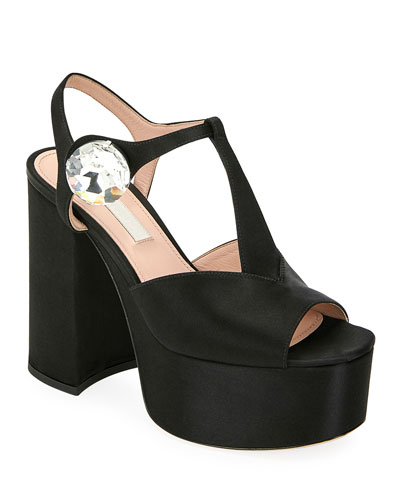 Satin Platform T-Strap Sandals