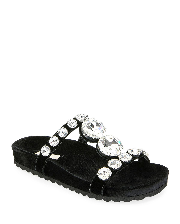 0a32626a8 Miu Miu Jeweled Velvet Platform Sandals