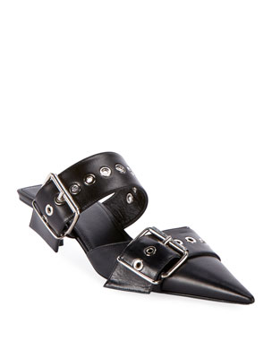 d07255f19d75 Balenciaga Belted Calf Leather Mules