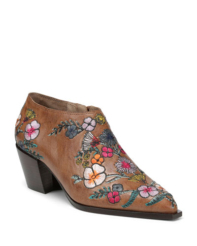 Rieta Leather Ankle Booties w/ Flowers