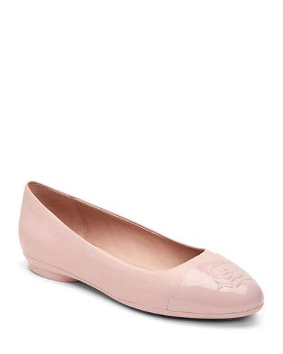 Annabella Rose Embossed Leather Flats