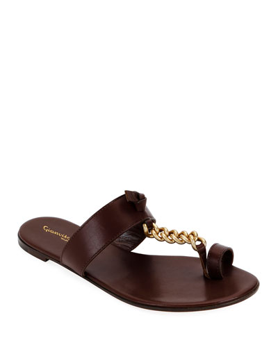 Chain Flat Toe-Ring Sandals