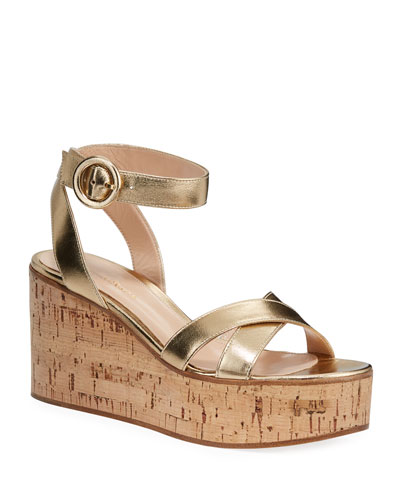 Metallic Cork-Platform Sandals