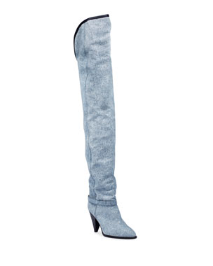 Isabel Marant Learon Denim Over-the-Knee Boots 86545c0ed