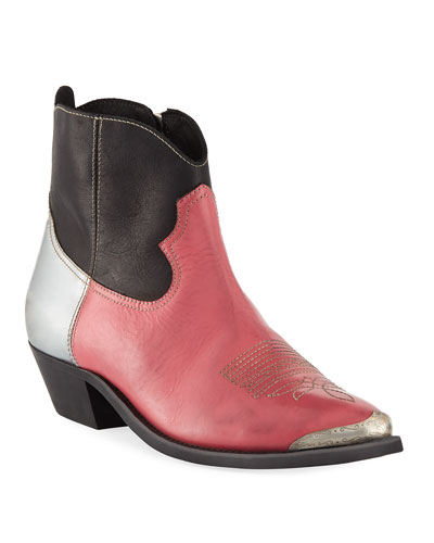 Young Colorblock Leather Ankle Boot