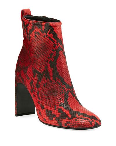 Ellis Snake-Print Leather Booties