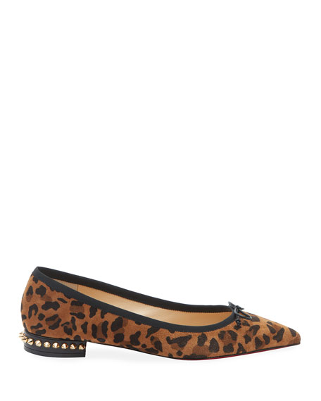 Christian Louboutin Hall Spike Leopard Red Sole Flats
