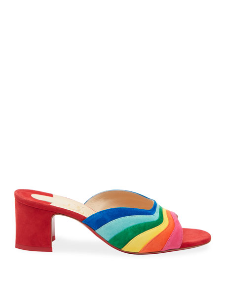 Christian Louboutin Degradouce Rainbow Red Sole Slide Sandals
