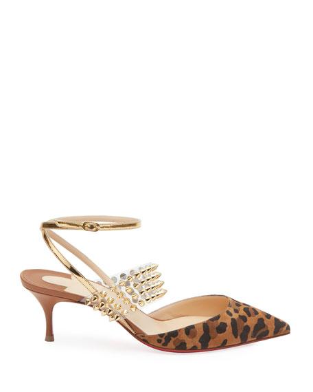 Christian Louboutin Levita Leopard Ankle-Wrap Red Sole Pumps