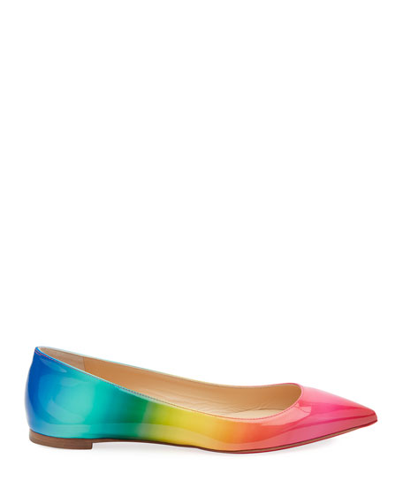 Christian Louboutin Ballalla Ombre Patent Red Sole Flats