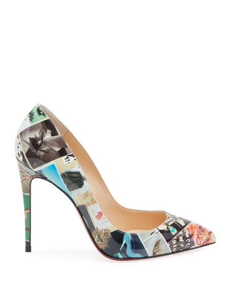 Christian Louboutin Pigalle Follies Collage Patent Red Sole Pumps