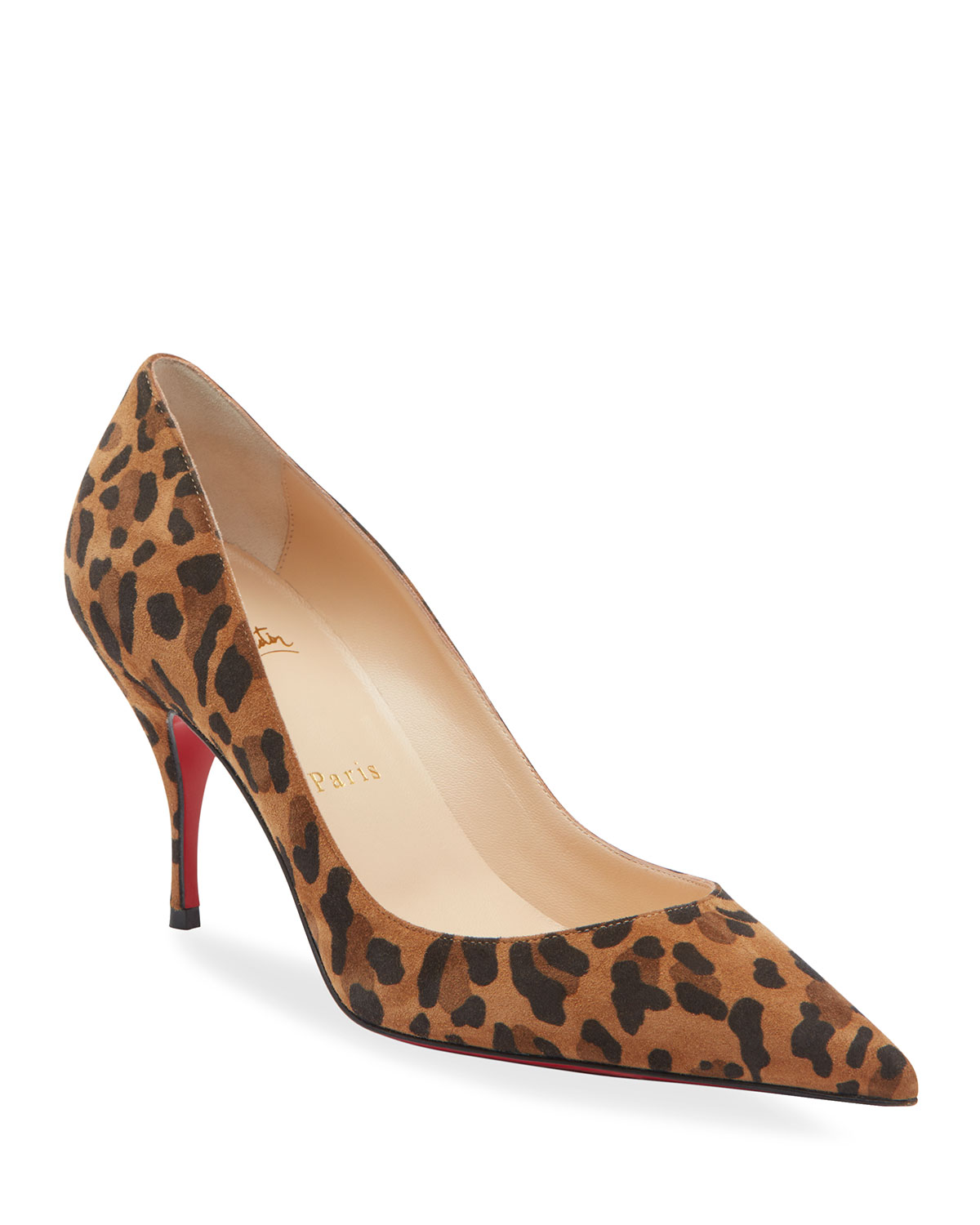 0b77435ff Christian Louboutin Clare 80 Leopard Suede Red Sole Pumps | Neiman ...