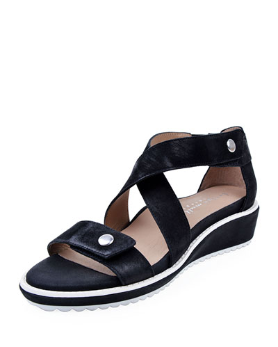 Tobi Leather Demi-Wedge Sandals  Black