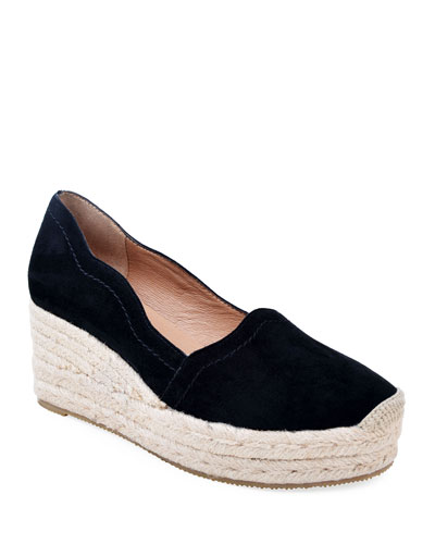 Reese Scalloped Suede Espadrilles  Black