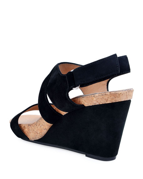 e2d90a39563 Bettye Muller Concept Trent Suede Wedge Sandals In Black
