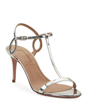 91f3f3eb4056 Aquazzura Almost Bare Metallic Leather Sandals
