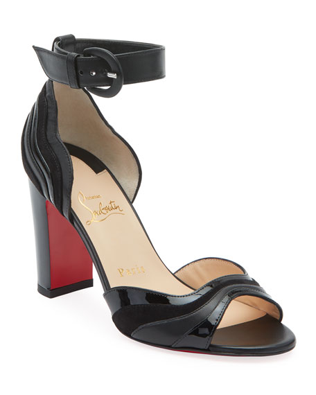 Christian Louboutin Degratissimo Suede/Leather Red Sole Sandals