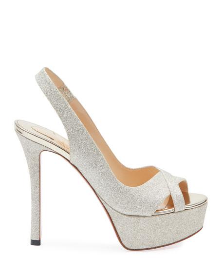 Christian Louboutin Postdam Glitter Platform Red Sole Sandals
