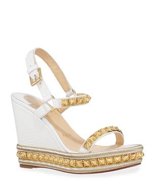 59368ec9fec Christian Louboutin Pyraclou Studded Wedge Red Sole Espadrilles