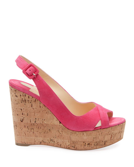 Christian Louboutin Reine de Liege Suede Red Sole Wedge Sandals