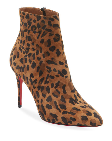 Christian Louboutin Eloise Leopard Red Sole Booties