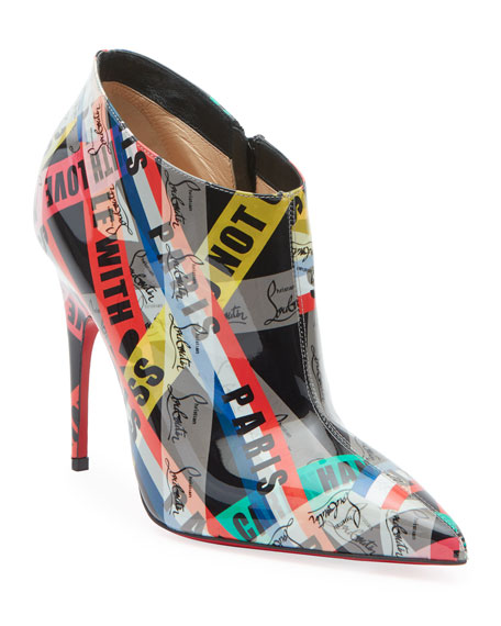 Christian Louboutin Gorgone Printed Patent Booties