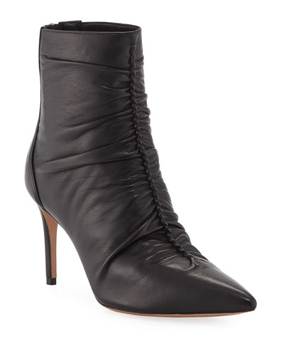 Suzana Ruched Leather Booties