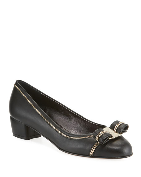 Salvatore Ferragamo Vara Lux Chain-Trim Pumps